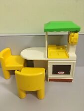 Little Tikes Doll house Sized Kitchen Island Set with phone + 2 Yellow Chairs