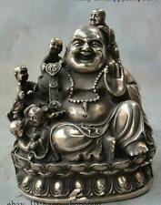 China Buddhism Silver 5 Tongzi Boy Ruyi Wealth Maitreya Buddhas Statue Sculpture