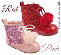 Baby Girls & Girls Spanish Style Glitter Pom Pom Ankle Boots UK 3(EU19)-10(EU28)