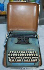 Vtg 1950's SMITH CORONA SILENT-SUPER Portable Typewriter w/ Hard Case Blue/Green