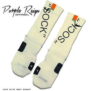 """NIKE JORDAN OFF WHITE """"SOCK"""" Custom Nike Elite Socks (ALL SZ)  virgil abloh ten"""