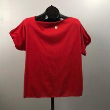 1980s Red Shirt / Boatneck Cutout Cotton Tee Shirt Cap Sleeve / Large