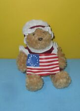 "Aurora Betsy Ross American Flag 9"" Teddy Bear Bean Plush Stuffed Animal Toy"