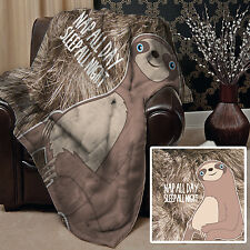 NEUTRAL SLOTH NAP ALL DAY SLEEP AT NIGHT DESIGN SOFT FLEECE BLANKET COVER THROW