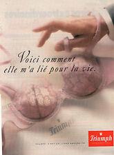 Publicité  Print AD 1996  Lingerie Triumph soutien gorge slip femme