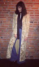 Vintage 70s Faux Fur Maxi Full Length Coat Jacket Womens Tan Button Front 1117