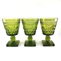 3 Vintage Indiana Glass Olive Green Goblet Park Lane Pattern Footed