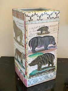 Tozai Home John Derian New York Hand Painted Jungle Animals Umbrella Stand Vase