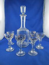 ancien service 6 verres carafe verre emaille decor floral epoque 1900