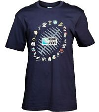 Men's Official Rugby World Cup 2015 20 Nations Ball Graphic T-Shirt Navy S BNWT