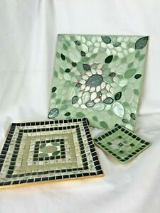 Lot of 3 Unbranded Home Décor Mosaic Table Decorative Trinket Plates Multicolor
