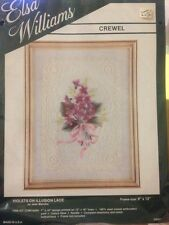 "ELSA WILLIAMS ""Violets On Illusion Lace"" By JOAN MARCHIE Crewel Embroidery Kit"