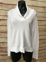 PRIA Petite Women's Size PL Large WHITE V-Neck Sweater 100% Cotton Casual