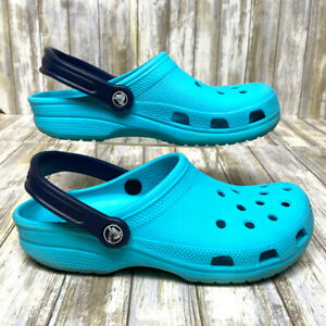 Crocs Classic Clogs Teal with Navy Strap - Women's 8, Men's 6 - Waterproof Shoes