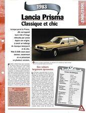 LANCIA PRISMA FICHE AUTO 1983 RENSEIGNEMENT TECHNIQUE COLLECTION