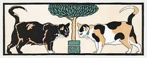 12103.Decoration Poster.Home Room wall decor.Art Nouveau fashion.Two cats.Kitten