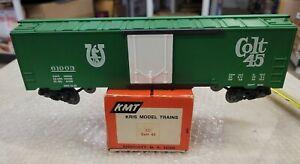 """KMT, KRIS MODEL TRAINS """"O"""" Colt 45 BEER REEFER, ORIG. BOX. 💥NICE💥 (15D)"""