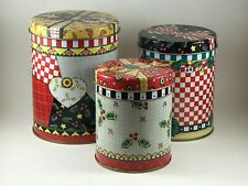 Vintage 1997 Mary Engelbreit Me Ink Christmas Set of Stacking Nesting Tins Vcg
