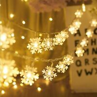 20LED Snowflake Lights Battery Christmas Fairy String Light Xmas Wedding Lamp UK