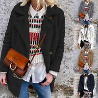 ZANZEA Femme Simple Peluche Chaud Manche Longue Loose Bouton Manteau Veste Plus