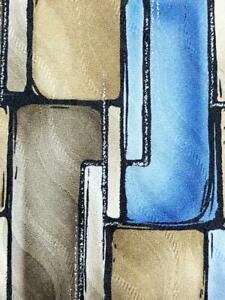 ARROW USA 1851 KHAKI BLUE SILVER BLOCKS DECO SILK NECKTIE TIE MAP1721A #R34