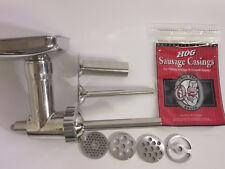 STAINLESS METAL Grinder for Kitchenaid Mixer & Sausage Stuffer Kit CASINGS