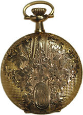 1914 ELGIN 0 SIZE 14K YELLOW GOLD HUNTER CASE LADIES POCKET WATCH NEAR MINT