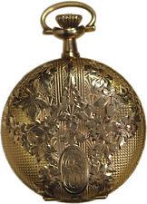 1914 ELGIN 0 SIZE 14K YELLOW GOLD HUNTER CASE LADIES POCKET WATCH NEAR MINT