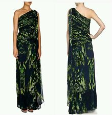 $695 HALSTON HERITAGE Green Blue Print Chiffon One Shoulder Gown Dress 8  M3020