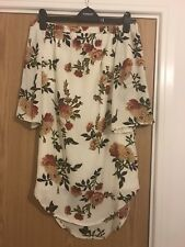 Womens White Floral Summer Dress - Bardot With 3/4 Sleeves And Scalloped Back