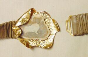 Vtg Les Bernard Ornate Horn & Gold Tone Belt Buckle & Leather Stretch Belt