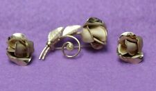 Nice Vtg AMCO 14K Yellow Gold Filled Rose Pin & Screw Back Earring Jewelry Set