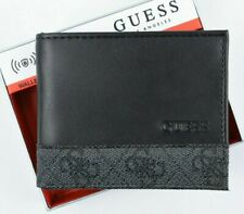 GUESS Men's RFID Protection Bifold Wallet with ID Flap, Black, Boxed
