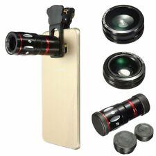 Mobile Phone Camera Zoom Lens Kit Clip on Optical Telephoto Wide Angle Fish Eye