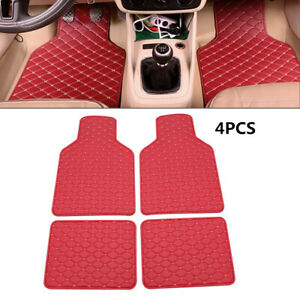 4PCS Red Leather Car Floor Mats Quilted Design Waterproof Liners Carpets Durable
