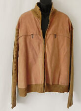 Robert Louis Sweater Jacket Suede Front Jersey Rib Knit Tan Size 4XB