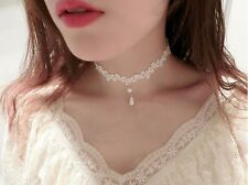 Gothic White Women Vintage Statement Chain Pendant Bib Charm Lace Pearl Necklace