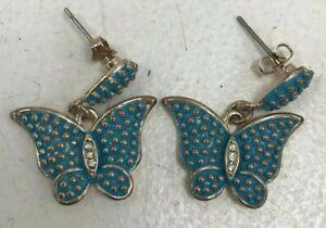 Pair Blue Butterfly Shaped Drop Earrings Diamante Set Costume Jewellery 121321