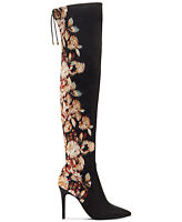 Jessica Simpson Lessy Dark Multi Floral Satin Pointed Toe Over Knee Dress Boots