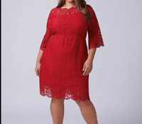 Lane Bryant Scallop-Edge Lace Fit Flare Dress Plus 14-16-18-22-24 Red 1x 2x 3x