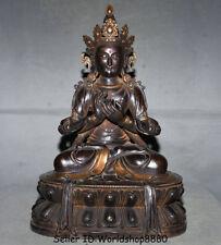 "19.6"" Old Tibet Buddhism Purple Bronze Gem Vajrapani Vajradhara Buddha Statue"