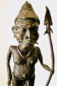 DETAILED Old CAMEROON Bronze SCARIFIED Standing 16inch TALL Warrior SCULPTURE