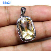 Faceted Natural Citrine Pave Diamond Sterling Silver Jewelry Charm Pendant ODS