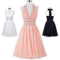 HOT Short Chiffon Formal Evening Bridesmaids Prom Party Ball Gown Halter Dress