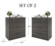 NIGHTSTANDS OR DRESSER SET of 2 pcs 3 Drawers Bedroom Gray Weathered Oak