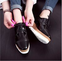 Women Wedge Creepers High Platform Flat Brogue Oxfords Brogue Casual Shoes US