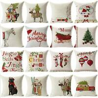 "18"" Christmas Pillow Case Cotton Linen Sofa Throw Cushion Covers Home Decor Xmas"