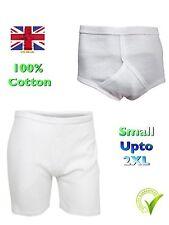 Mens Trunks Y fronts white boxers interlock briefs S M L XL XXL  100% cotton