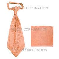 New Vesuvio Napoli Men's Polyester Ascot Cravat Necktie Hankie Paisley Peach