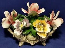 CAPODIMONTE Porcelain Flower Centerpiece Hand Painted Italy · N Crown Mark